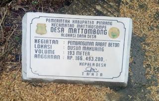 Disorot ! Pekerjaan Rabat Beton Didesa Mattombong Pinrang,Diduga Tidak Sesuai Bestek