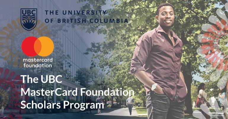 University of British Columbia MasterCard Foundation Scholarships 2021/2022