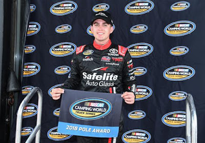 Noah Gragson poses with the pole award after qualifying on the pole for the NASCAR Camping World Truck Series 37 Kind Days 250.  Gragson logged a lap of 176.678 to win his fifth pole in 31 starts
