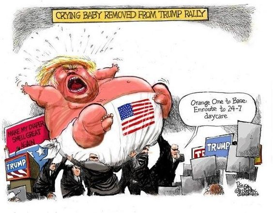 Trump crying baby in diaper