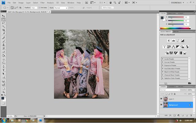 cara membuat efek blur pada tepi foto dengan photoshop