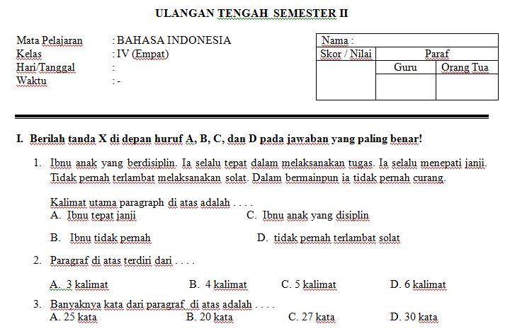 Download Contoh Soal UTS SD/MI Kelas IV Semester 2 Mata Pelajaran Bahasa Indonesia  Format Microsoft Word