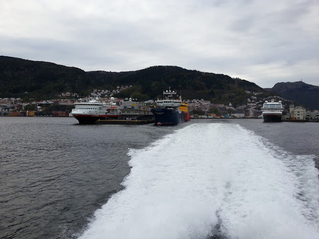 Hurtigruten cruise ships docked in Bergen, Norway