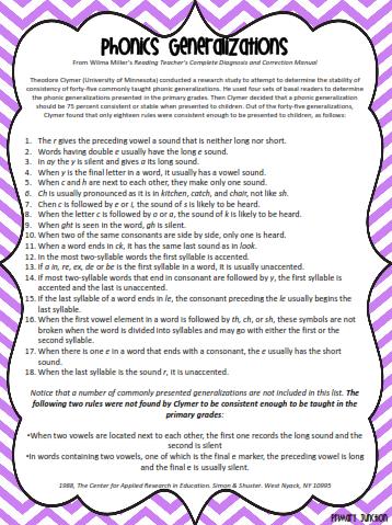 Classroom Freebies Phonics Generalizations List