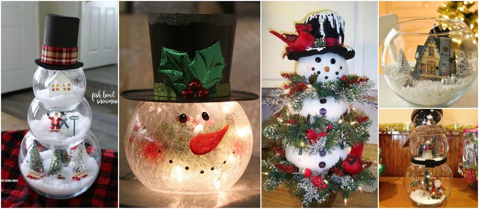 7 hermosos mu ecos de nieve con peceras para esta navidad - Como hacer decoraciones navidenas ...
