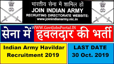 Indian Army Havildar Recruitment 2019