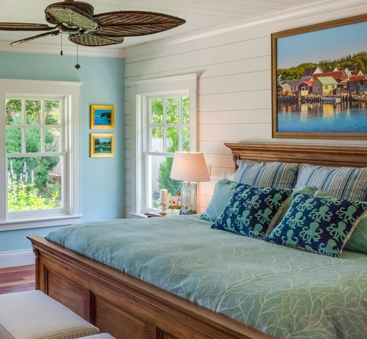 Turquoise Painted Walls and Decor in Bedroom