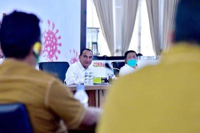 Gubernur Edy Minta Camat, Lurah dan Kepala Desa Aktif Ingatkan Warga Disiplin Protokol Kesehatan