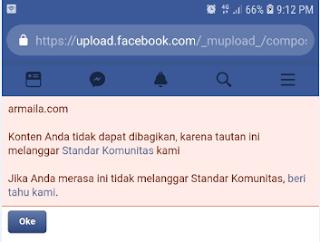 Konten Anda Tidak Dapat Dibagikan Karena Tautan Ini Melanggar Standar Komunitas Facebook