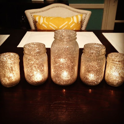 gold glitter Mason jar tea lights
