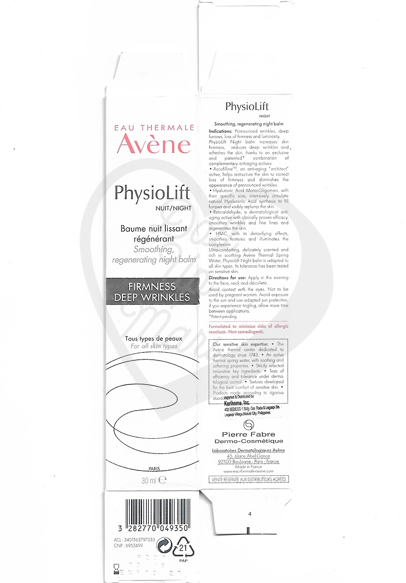 Box Scan of Avène PhysioLift Night Smoothing Regenerating Night Balm