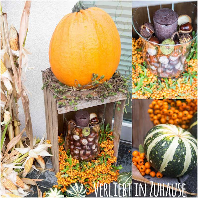 Vorschlag: Herbst-Dekoration 2016 mit Kürbis und Mais selber machen