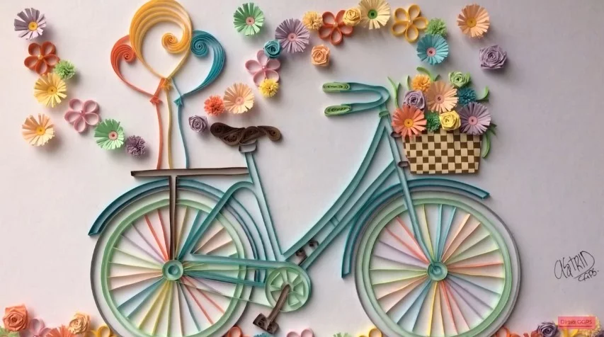 How to make quilling bicycle with flowers crazzy craft for Easy quilling designs step by step