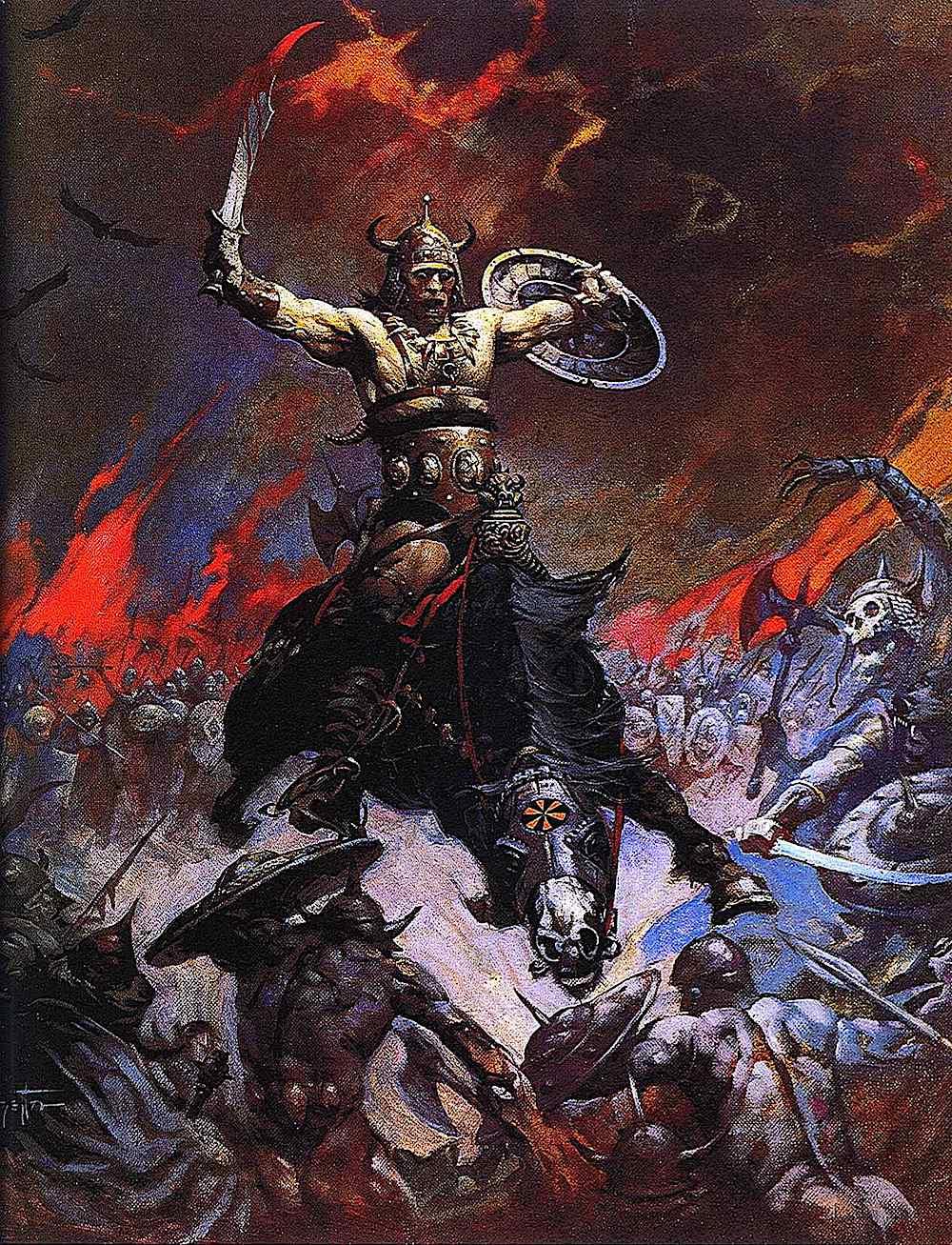an illustration by Frank Frazetta of battle insanity