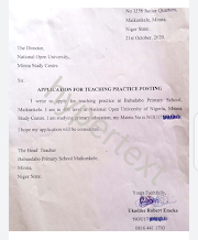 SAMPLE OF TEACHING PRACTICE (IT) POSTING/APPLICATION LETTER