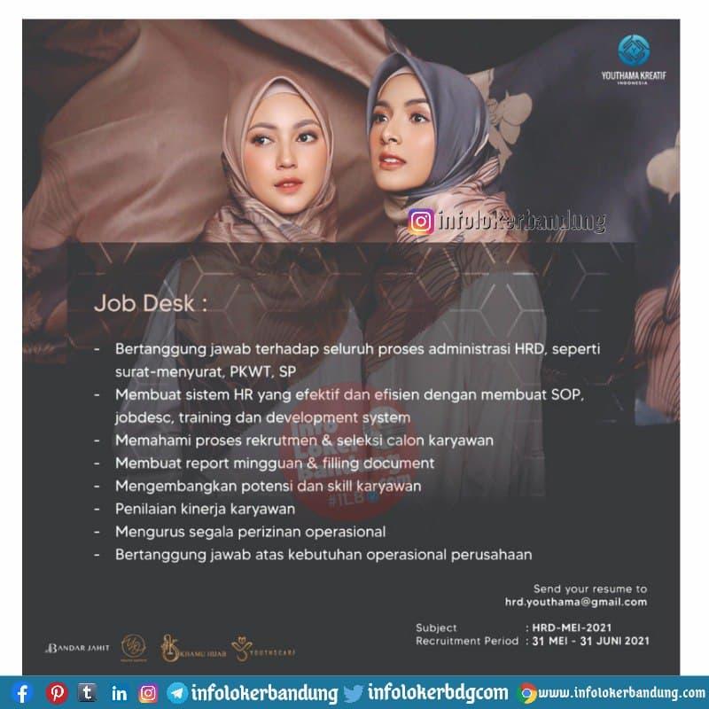 Lowongan Kerja HRD & GA PT. Youthama Kreatif Indonesia Bandung Mei 2021
