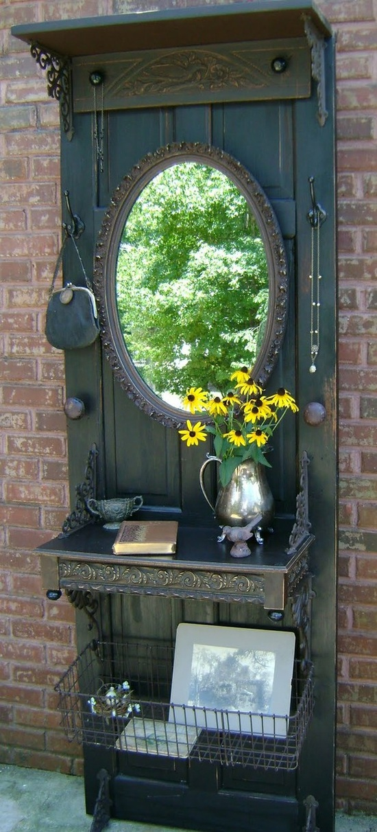 This door, mirror and dresser combo is a stunning piece that will bring some character to the room