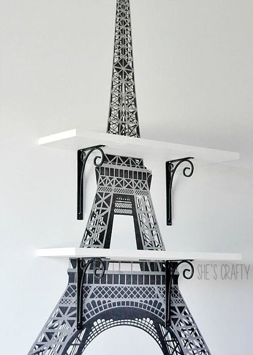 How to apply large Eiffel Tower decal to wall to make Eiffel Tower wall shelves