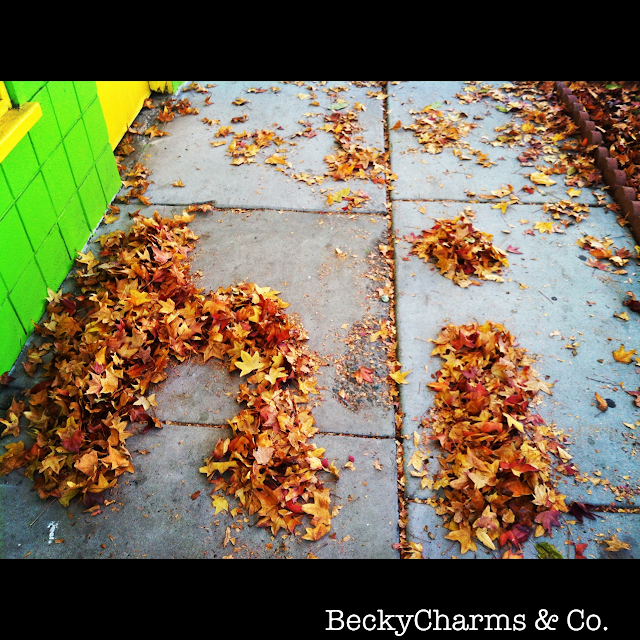 Fall leaves in San Diego that spell hi from el Barrio Logan, fall, autumn, leaves, san diego, beckycharms
