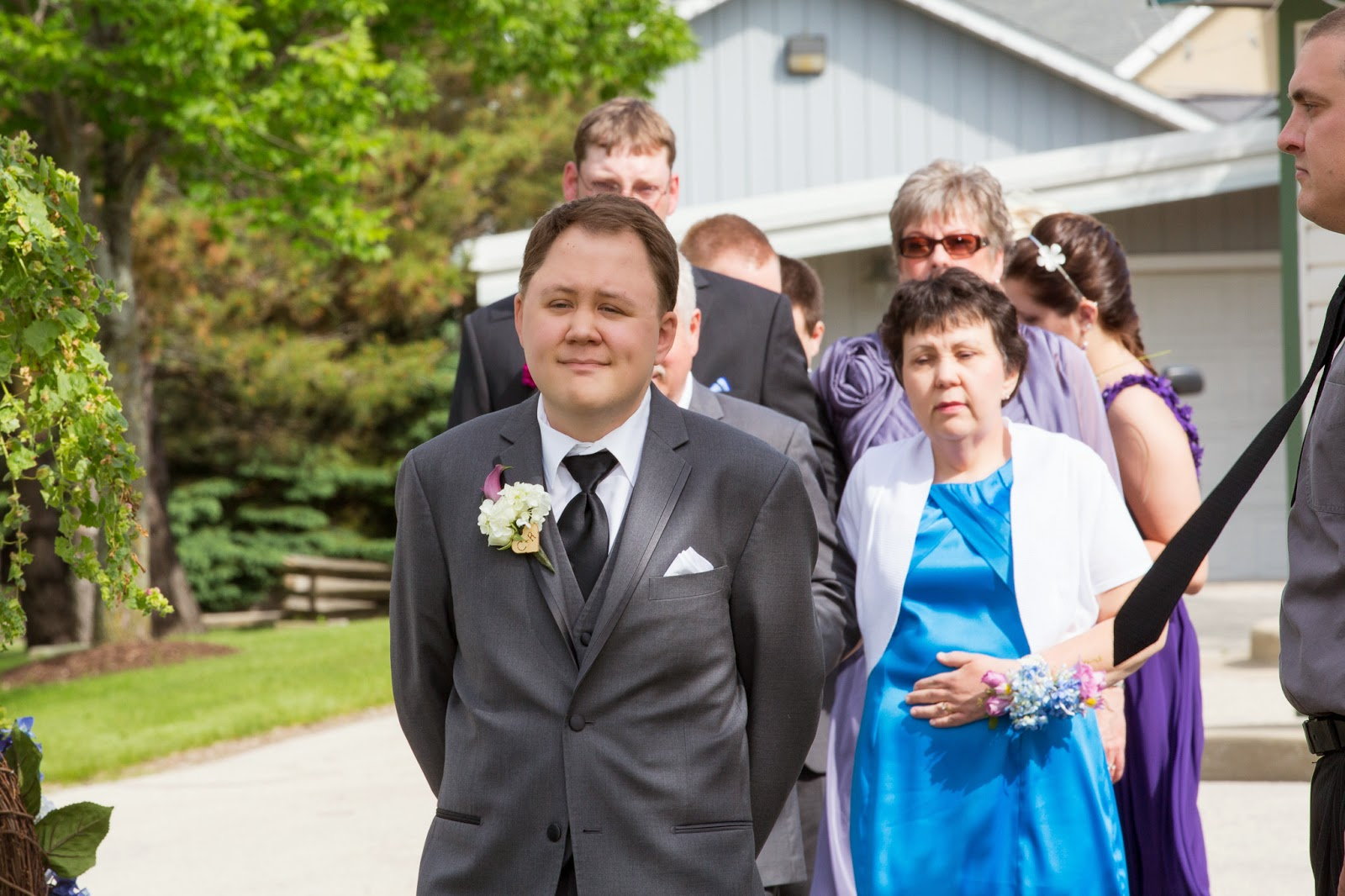 Photo of myself walking down the aisle, looking ready to cry.