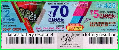Kerala Lottery Result 05-01-2020 Pournami RN-425 (keralalotteryresult.net)-