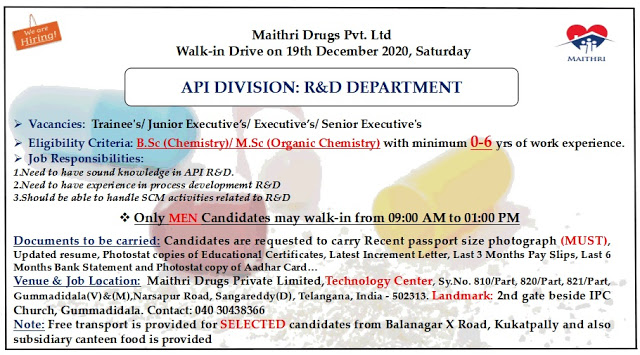 Maithri Drugs | Walk-in for BSc/MSc Freshers &Expd candidates on 19th Dec 2020