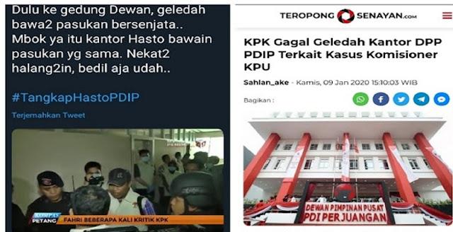 DULU Garang Bawa Pasukan dan Senjata Laras Panjang Geledah DPR, Kok Tidak Seperti Itu Geledah Kantor PDIP?