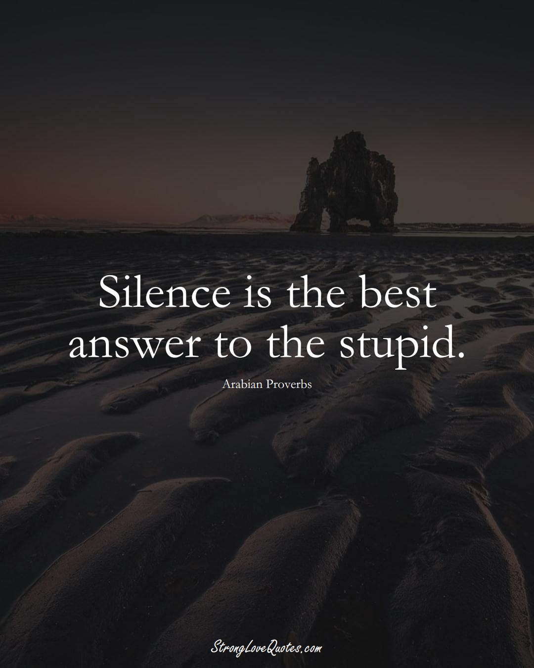 Silence is the best answer to the stupid. (Arabian Sayings);  #aVarietyofCulturesSayings