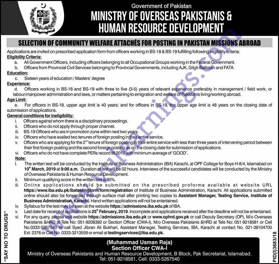 Job in Ministry of overseas Pakistani