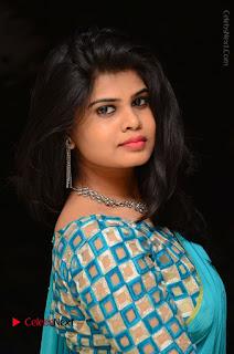Telugu Actress Alekhya Stills in Green Saree at Swachh Hyderabad Cricket Press Meet  0058.JPG
