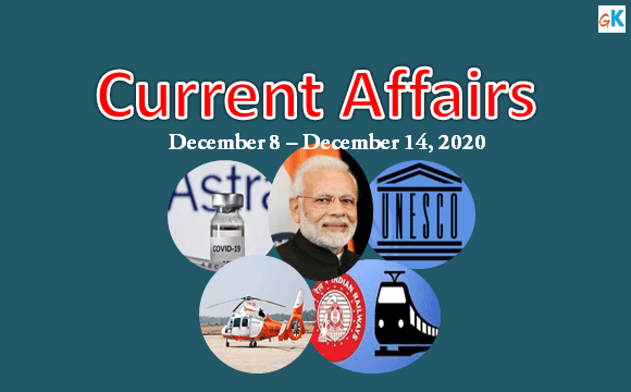 Current Affairs Weekly Updates of December 8 - December 14, 2020