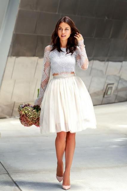 vestido crop top y falda corta