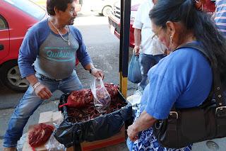 Shrimp vendor on Puriscal street corner.