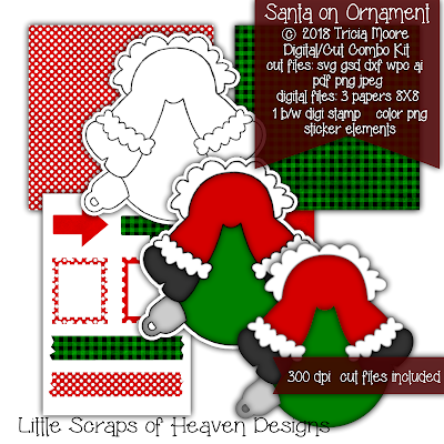 Santa on Ornament Digital and Cut file Combo FREE this week November 26-December 2