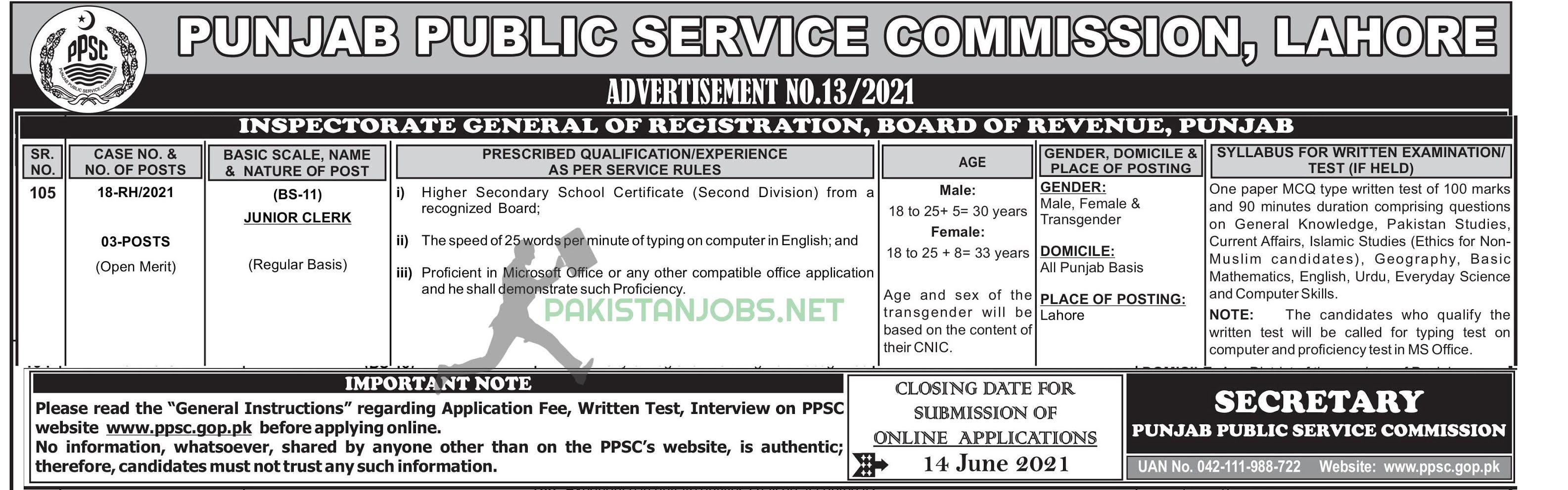 Board Of Revenue PPSC Jobs 2021