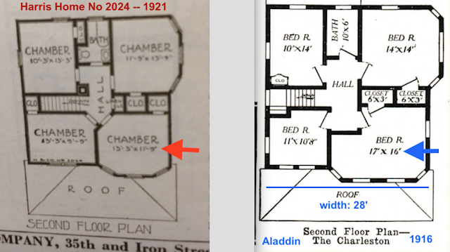 Upstairs floor plans, CHWC 134 / Harris 2024 vs Aladdin Charleston