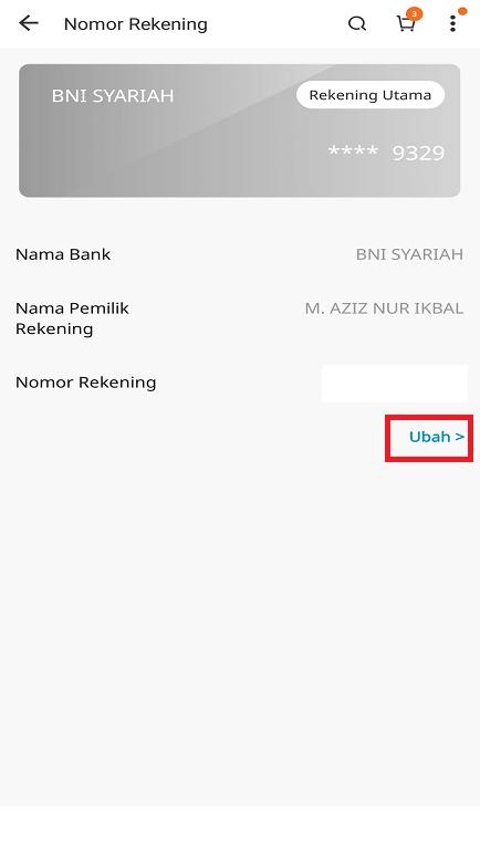 Mengubah Informasi Rekening Bank di Aplikasi Marketplace Lazada.