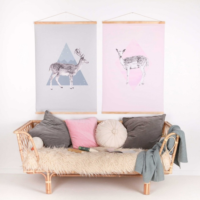 Rattan day bed, kids room