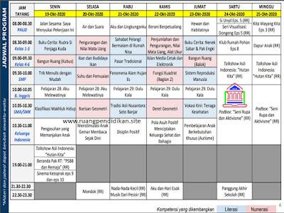 Jadwal Dan Materi BDR Di TVRI Tanggal 19-25 oktober