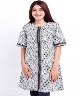 model gaun batik pendek kombinasi untuk pesta