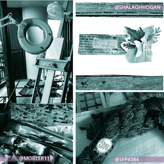 Collage of three photos. Left vertical photo is an artist's studio with paintbrushes on a table, magnifying glass, and easel taken by @Mobler118. Top right photo is a paper collage of written text with a bouquet of flowers, a butterfly, and handwritten text ' the archives' taken by @ShalaghHogan. Bottom right photo is a skein of yarn on a desk next to a computer keyboard taken by @SFP4584.