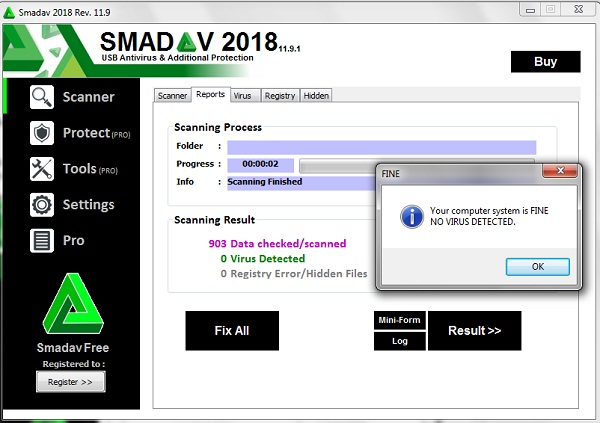 Scan and Clean USB from viruses by Smadav 2018 USB Antivirus
