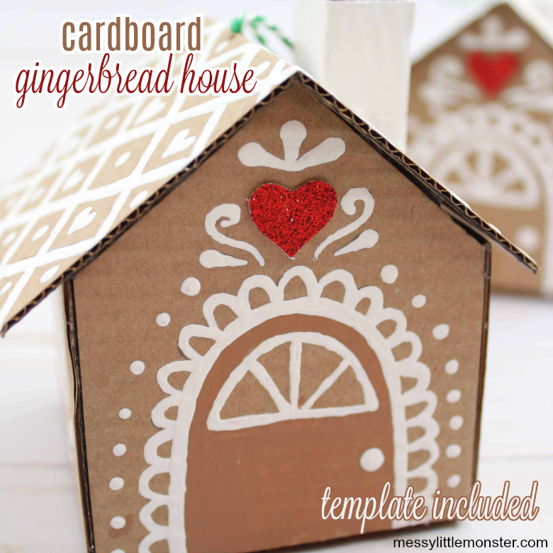 cardboard gingerbread house ornament for kids with template