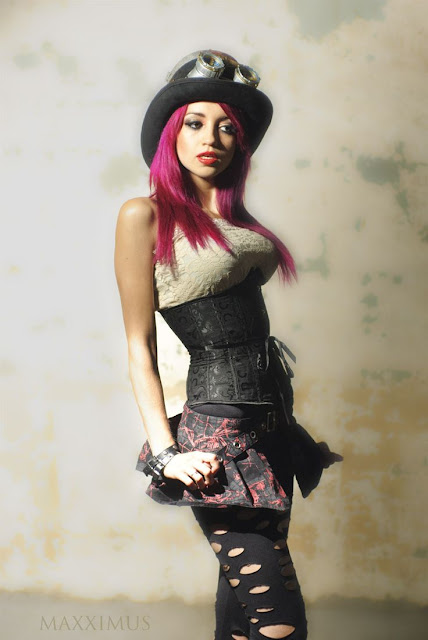 steampunk girl with purple hair in corset, hat, goggles, skirt and leggings
