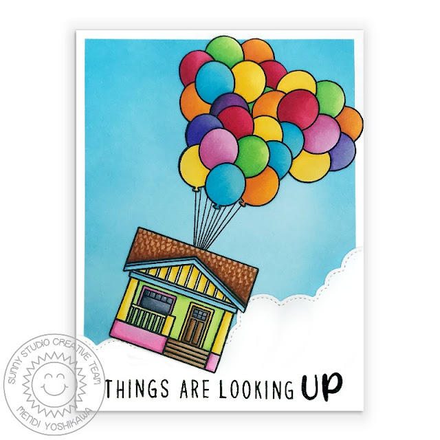 Sunny Studio Blog: Things Are Looking Up House with Floating Balloons Card (using Happy Home, Floating By, Kinsley Alphabet & Phoebe Alphabet Stamps and Fluffy Clouds Border Die)