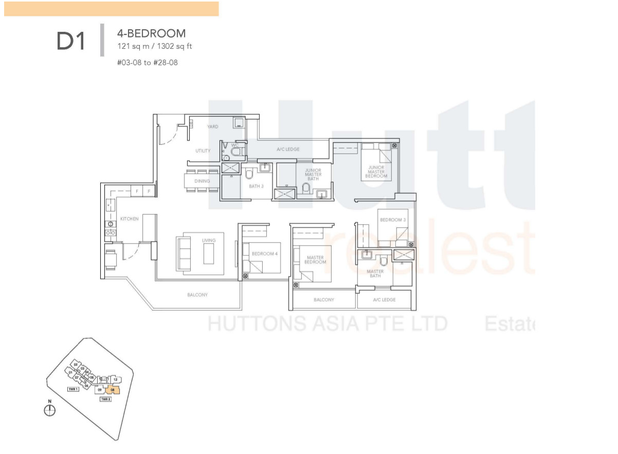 Sturdee Residences 4 bedroom floor plan