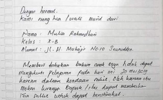 Contoh Surat Izin Sakit Tulisan Tangan (via: suratresmi.net)