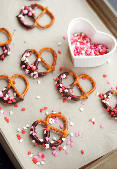 Chocolate Covered Pretzels for Valentine's Day