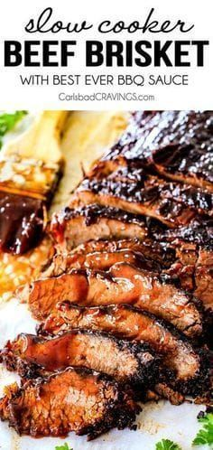 "Wonderfully juicy, flavor exploding, melt-in-your-mouth Slow Cooker Beef Brisket is ""better than any restaurant"" according to my food critic husband! It's the ultimate easy company dinner because it can be made days in advance then reheated in the slow cooker for stress free entertaining (which is actually my preferred method)!"