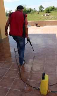Power washing the tiles